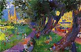 Leroy Neiman Washington Square Park painting