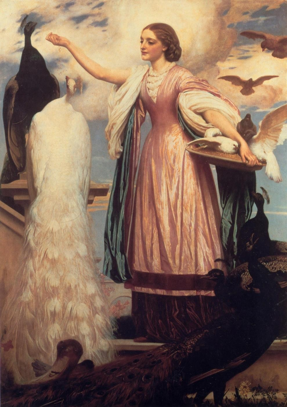 Lord Frederick Leighton A Girl Feeding Peacocks