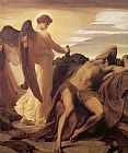 lord frederick leighton Paintings - Elijah in the Wilderness