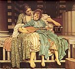 Music paintings - Leighton Music Lesson by Lord Frederick Leighton