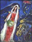 Romance paintings - La Mariee by Marc Chagall