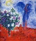 Marc Chagall Lovers over Sant-Paul painting