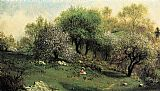 Martin Johnson Heade Girl on a Hillside, Apple Blossoms painting