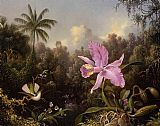 Martin Johnson Heade Orchid and Two Hummingburds painting