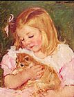 Mary Cassatt Sara Holding A Cat painting