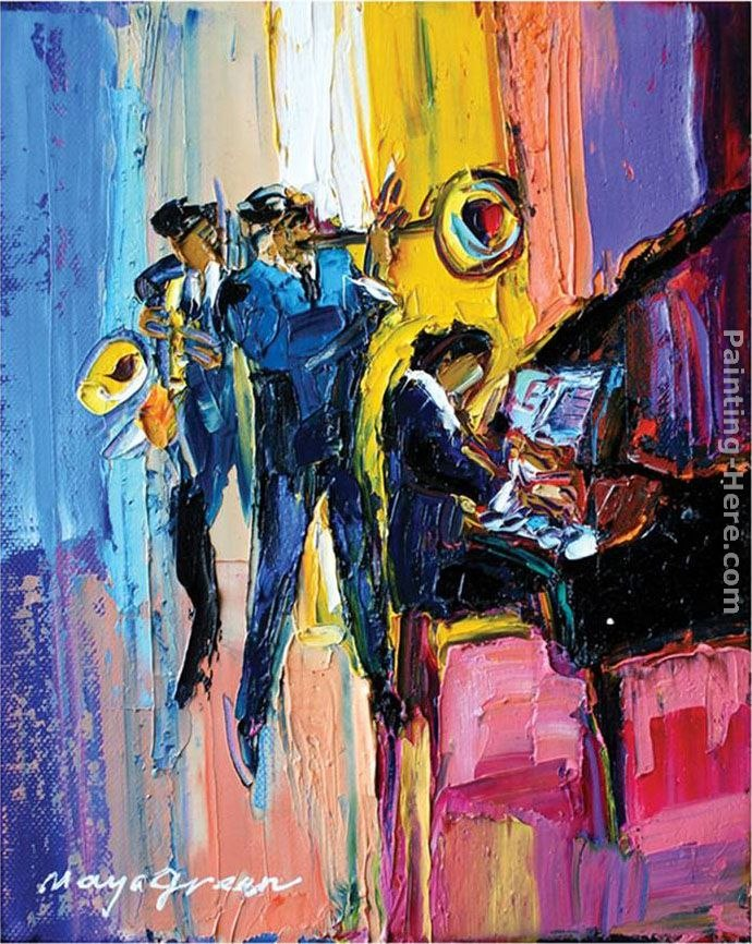 Maya Green Jazz for Lovers Painting | Best Paintings For Sale
