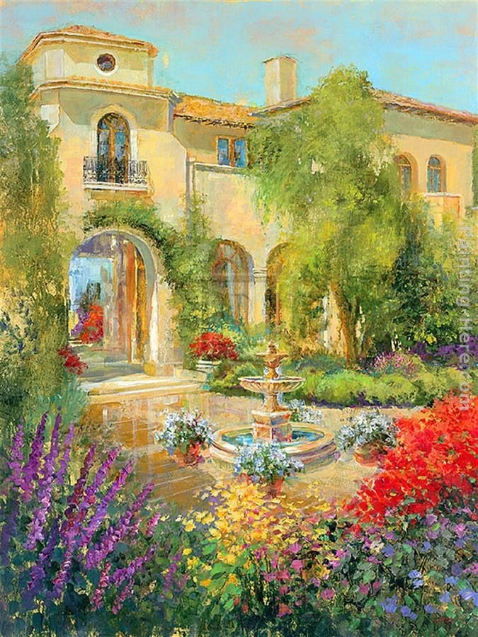 Michael longo spanish courtyard ii painting best for Big artwork for sale