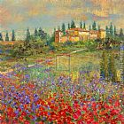 palette knife paintings - Provencal Village XI by Michael Longo