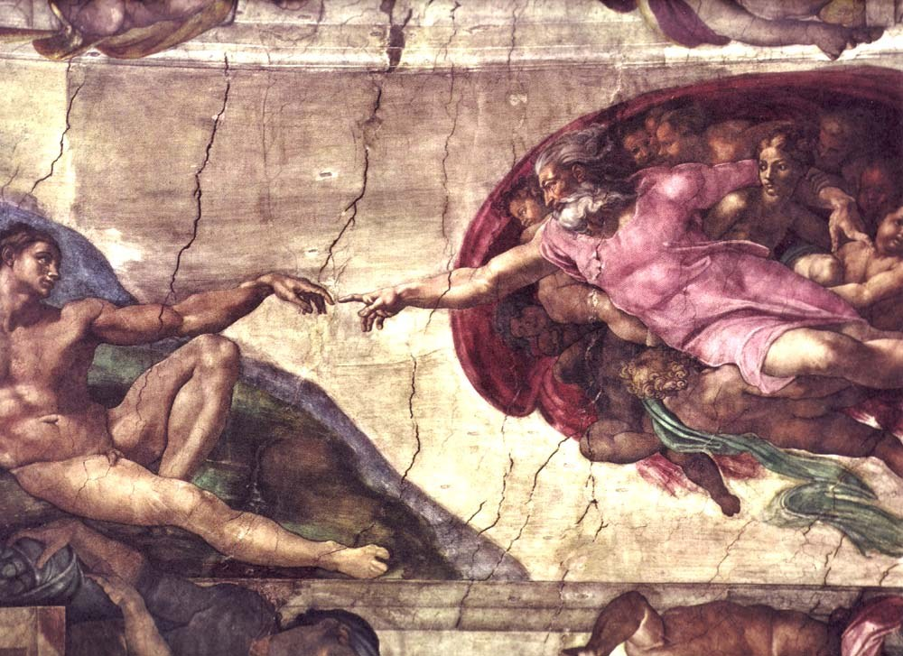 Pin artist michelangelo buonarroti langtitel full on pinterest for Creation of adam mural