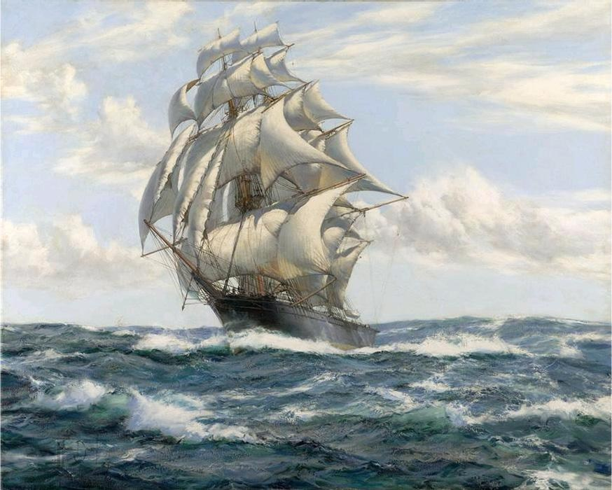 Montague dawson the flying fish painting best paintings for Large artwork for sale