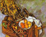 Paul Cezanne Still Life with Flower Curtain and Fruit painting