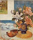 Paul Gauguin Still Life with Chinese Peonies and Mandolin painting