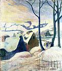 Paul Gauguin Village in the Snow painting