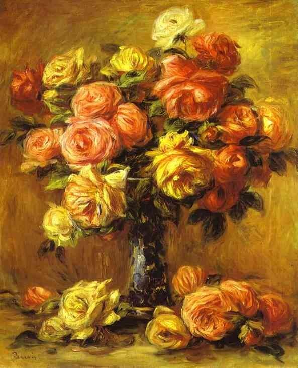 Pierre Auguste Renoir Roses In A Vase Painting Best Paintings For Sale
