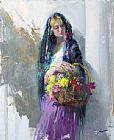Pino FLOWER MARKET GIRL painting