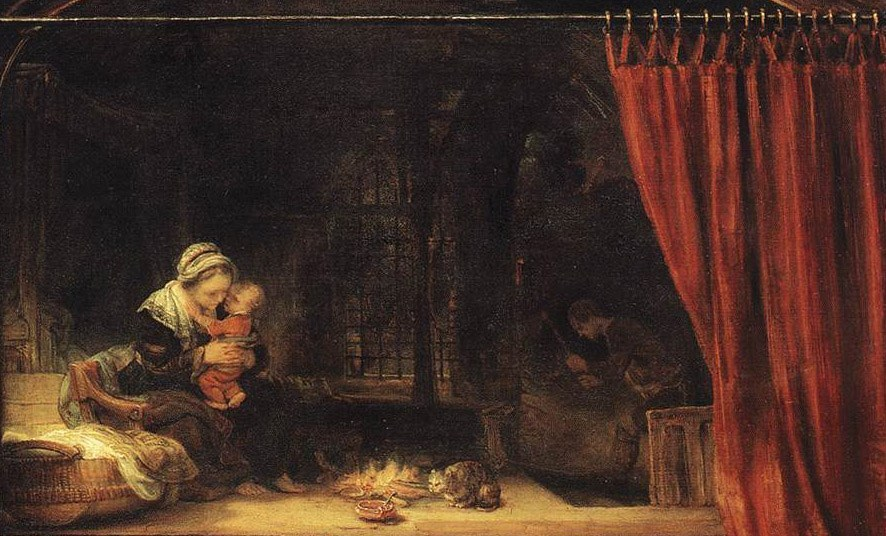 Curtains Ideas curtain paintings : Rembrandt The Holy Family with a Curtain Painting | Best Paintings ...