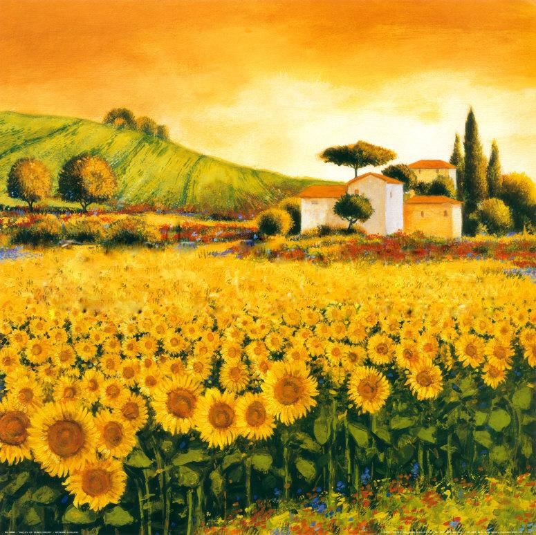 Richard leblanc valley of sunflowers painting best for Large artwork for sale