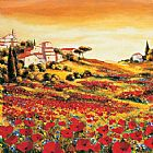 Mediterranean paintings - Valley of Poppies by Richard Leblanc