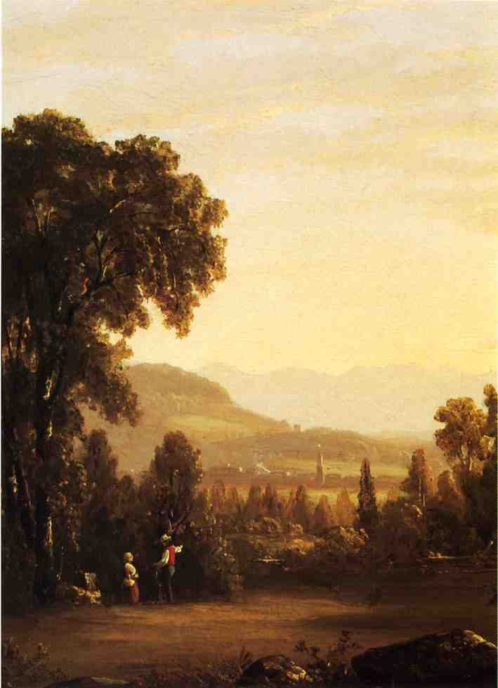 Sanford Robinson Gifford Landscape with Village in the Distance