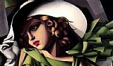 Tamara de Lempicka Girl in a Green Dress detail painting