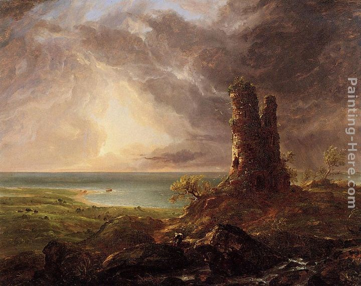 Thomas Cole Romantic Landscape with Ruined Tower