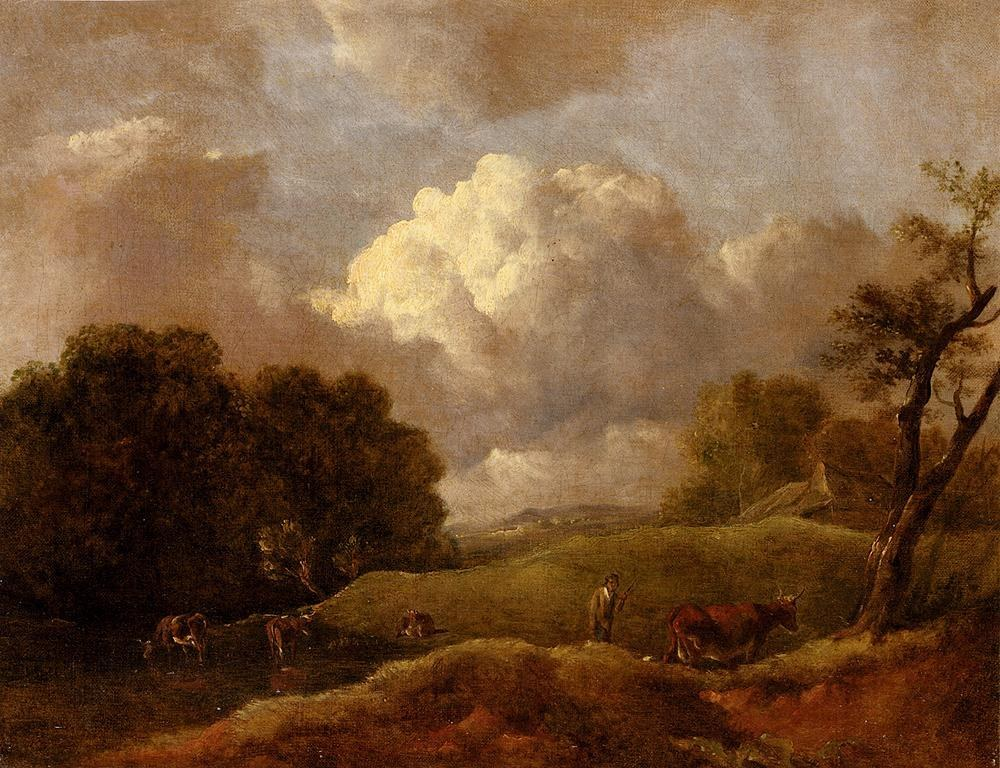 Thomas Gainsborough An Extensive Landscape With Cattle And A Drover