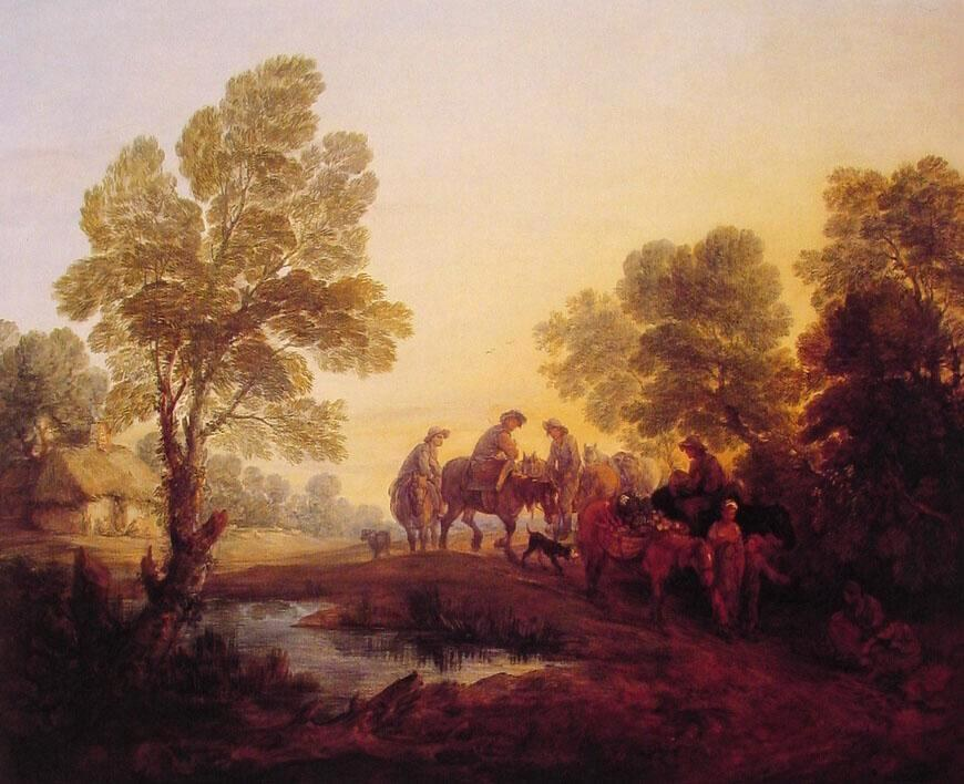 Thomas Gainsborough Evening Landscape Peasants and Mounted Figures