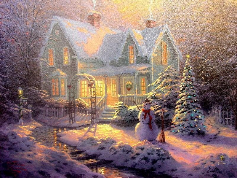 Thomas Kinkade Blessings of Christmas Painting | Best Paintings For Sale