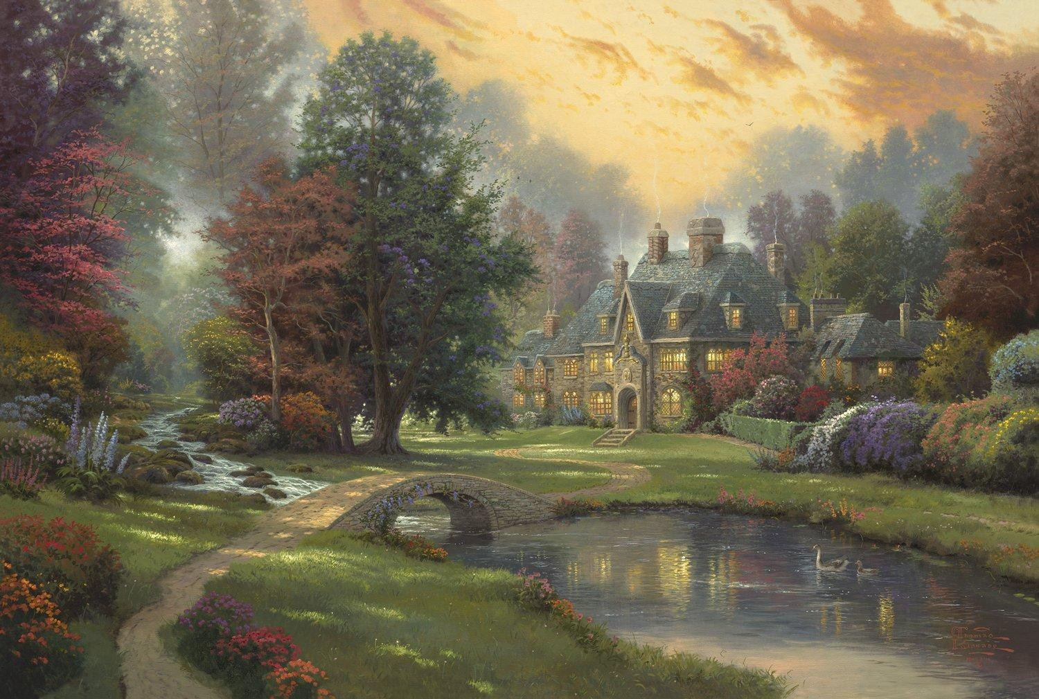 Thomas kinkade lakeside manor painting best paintings for Famous prints for sale