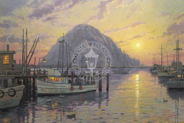 Thomas Kinkade Morro Bay at Sunset