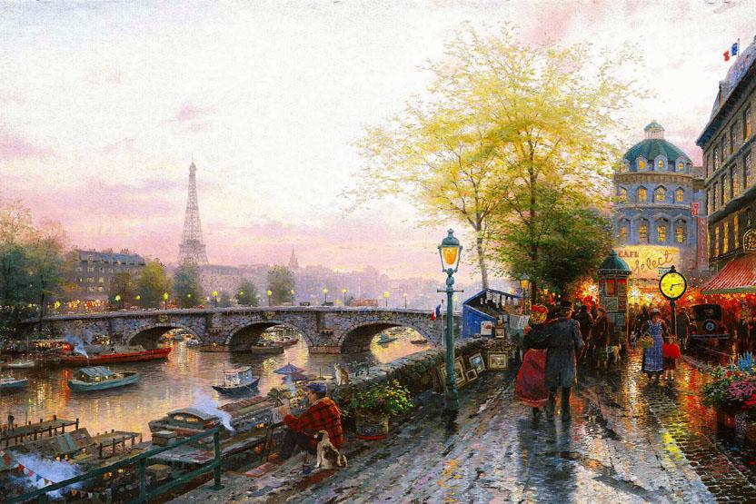 Fabulous Thomas Kinkade PARIS EIFFEL TOWER Painting | Best Paintings For Sale UE59
