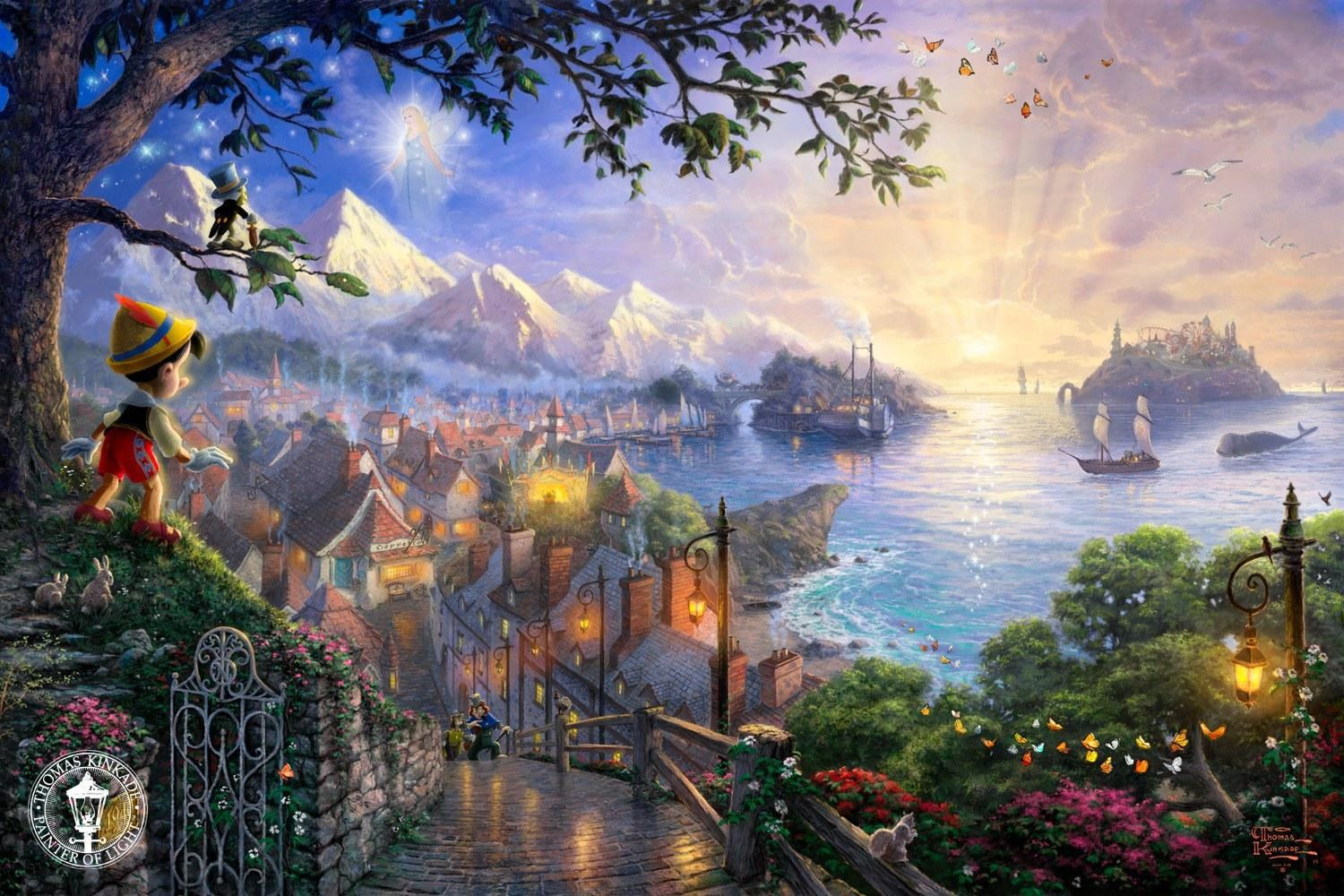 Thomas Kinkade Pinocchio Wishes Upon a Star