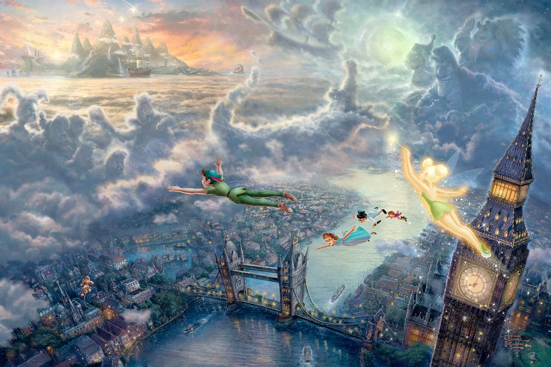 Thomas Kinkade Tinker Bell and Peter Pan Fly to Neverland