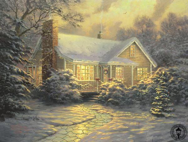 Thomas Kinkade xmas cottage