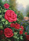 Garden paintings - A Perfect Red Rose by Thomas Kinkade
