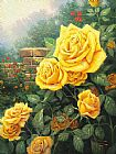 Garden paintings - A Perfect Yellow Rose by Thomas Kinkade