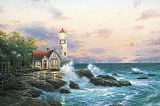Beach paintings - Beacon of hope by Thomas Kinkade