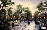 Thomas Kinkade Carmel, Sunset On Ocean Avenue painting