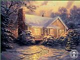 Thomas Kinkade Christmas Cottage painting