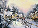 Thomas Kinkade Christmas Village painting