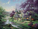 Thomas Kinkade Clocktower cottage painting