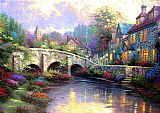 Thomas Kinkade Cobblestone Brook painting