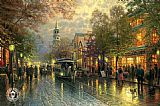 Thomas Kinkade Evening on the Avenue painting