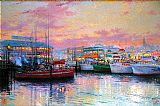 Thomas Kinkade Fisherman's Wharf painting