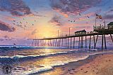 Beach paintings - Footprints in the sand by Thomas Kinkade