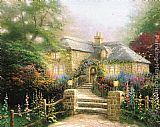 Thomas Kinkade Hollyhock House painting