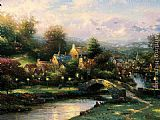 Thomas Kinkade Lamplight Village painting