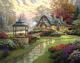 Garden paintings - Make a Wish Cottage by Thomas Kinkade