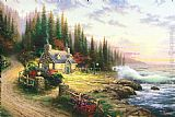 Thomas Kinkade Pine Cove Cottage painting