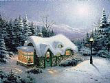 Thomas Kinkade Silent Night painting